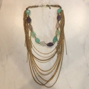 Anthropologie gold chain layered necklace.